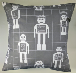 "Grey Robot Cushion Cover 16"" x 16"""